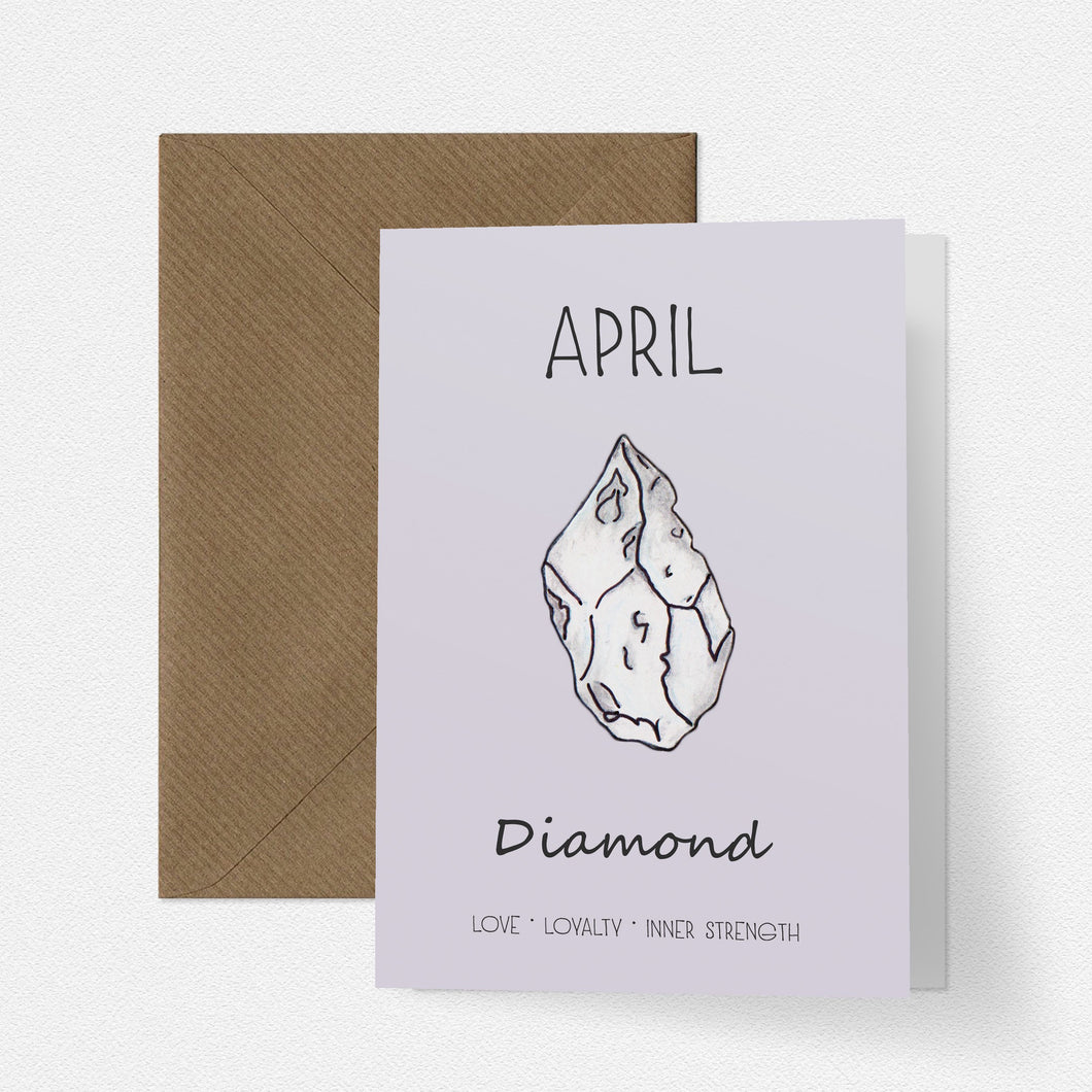 April Birthstone Diamond Illustration | Birthday | New Baby Card - Cherry Pie Lane