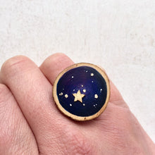 Load image into Gallery viewer, Hand-Painted Galaxy Star Wood Slice Statement Ring - Cherry Pie Lane