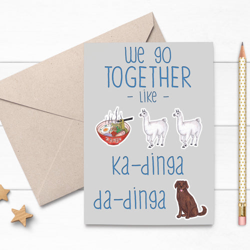 Llama Funny Song Lyric Love Card - Cherry Pie Lane