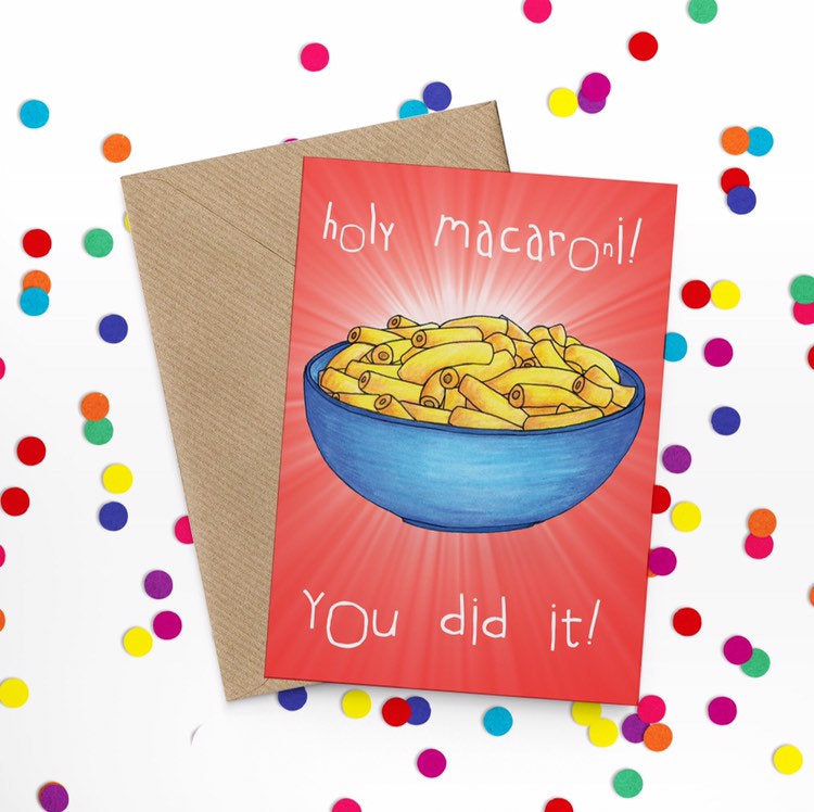 Holy Macaroni Funny Congratulations Card - Cherry Pie Lane