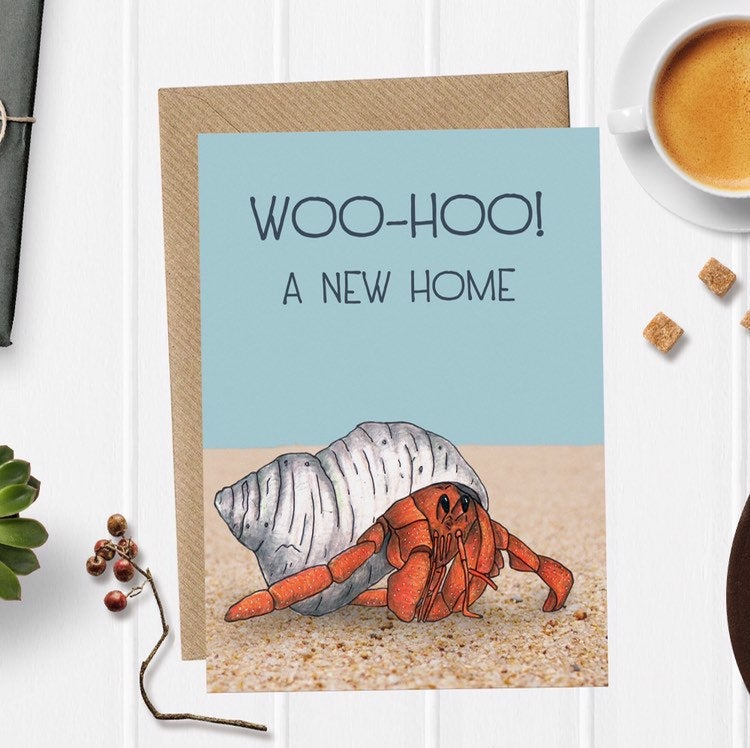 Funny Hermit Crab Illustration New Home Congratulations Card - Cherry Pie Lane