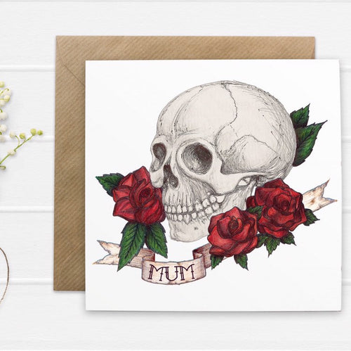 Skull And Rose Tattoo Style 'Mum' Mothers Day Card - Cherry Pie Lane