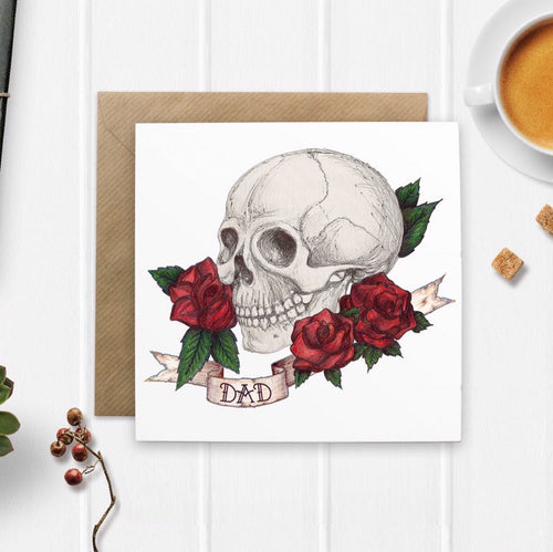 Skull And Rose Tattoo Style 'Dad' Fathers Day Card - Cherry Pie Lane