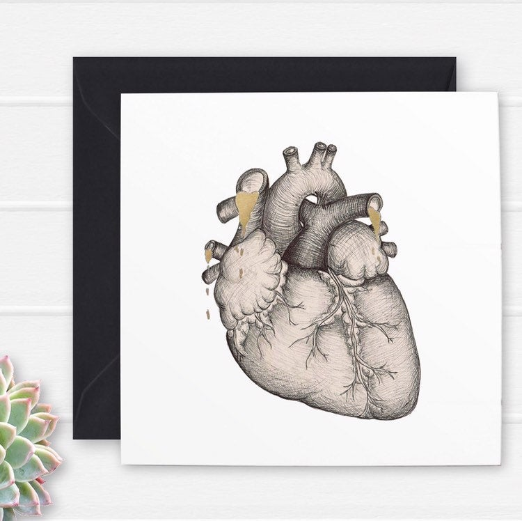 Anatomical Heart Illustration Card - Cherry Pie Lane