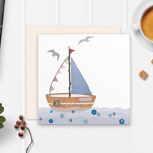 Seaside Sailboat Greetings Card - Cherry Pie Lane