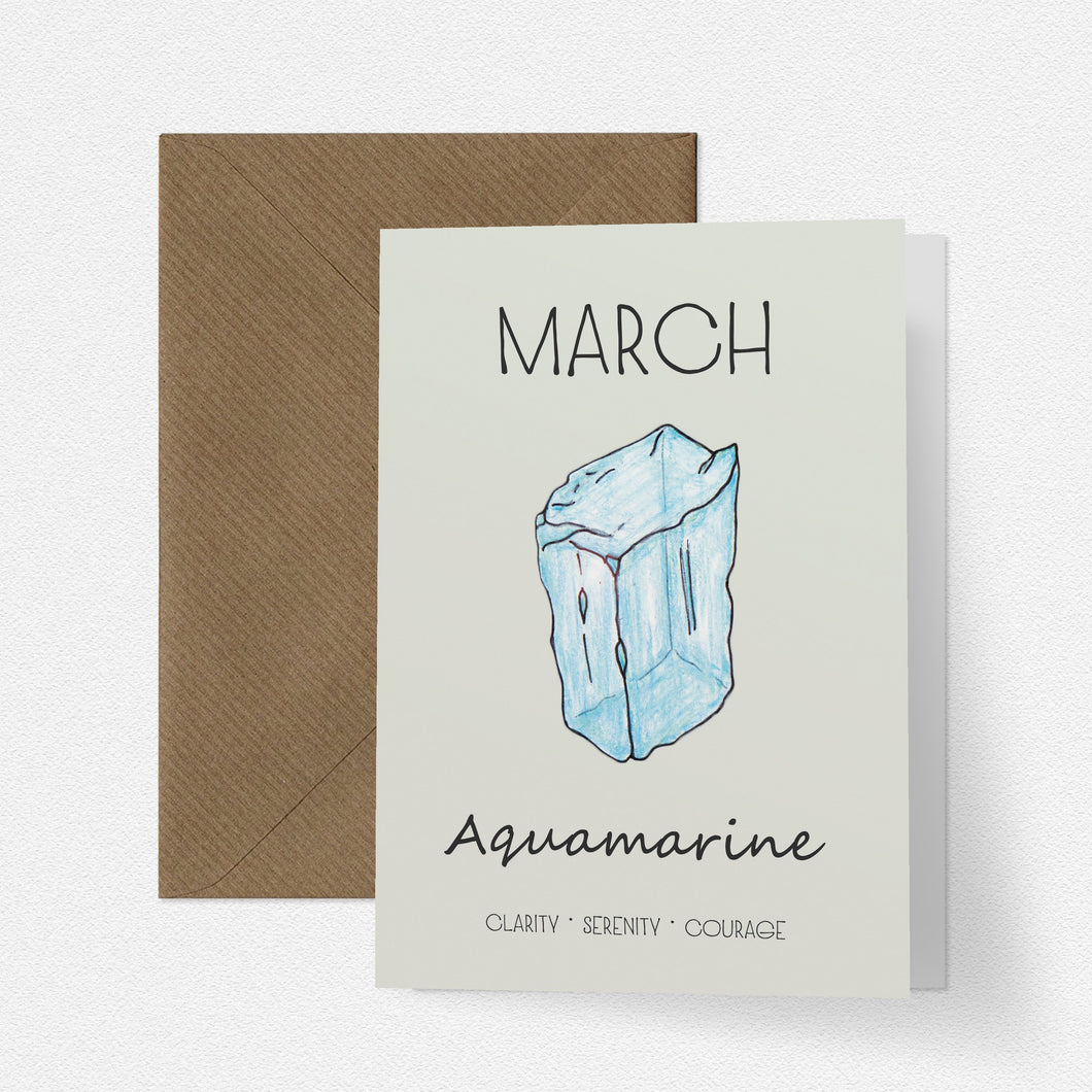 March Birthstone Aquamarine Illustration | Birthday | New Baby Card - Cherry Pie Lane