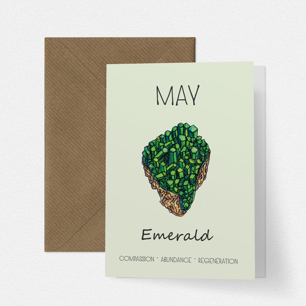 May Birthstone Emerald Illustration | Birthday | New Baby Card - Cherry Pie Lane