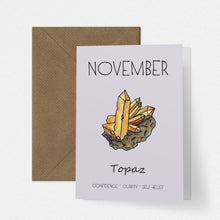 Load image into Gallery viewer, November Birthstone Topaz Illustration | Birthday | New Baby Card - Cherry Pie Lane