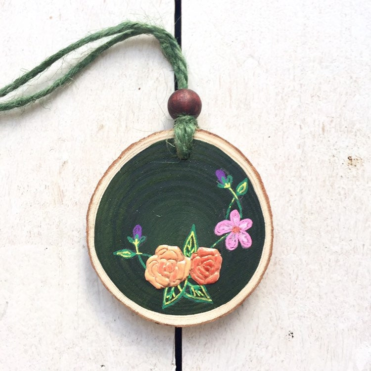 Handmade Copper Rose and Wildflower Wood Slice - Cherry Pie Lane