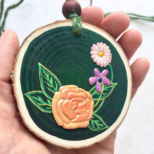 Handmade Copper Rose and Wildflowers Wood Slice - Cherry Pie Lane