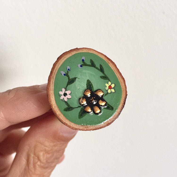 Hand-Painted Copper Flower Wood Slice Statement Ring - Cherry Pie Lane