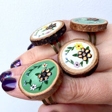 Load image into Gallery viewer, Hand-Painted Copper Flower Wood Slice Statement Ring - Cherry Pie Lane