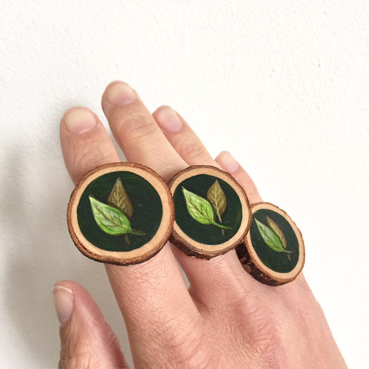 Hand-Painted Green Leaf Wood Slice Statement Ring - Cherry Pie Lane