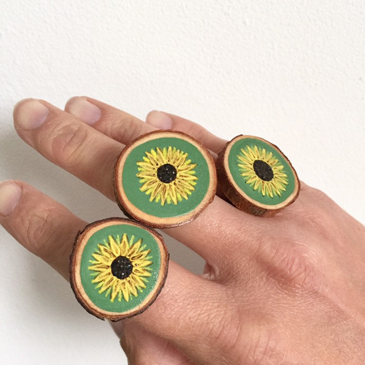 Hand-Painted Sunflower Wood Slice Statement Ring - Cherry Pie Lane