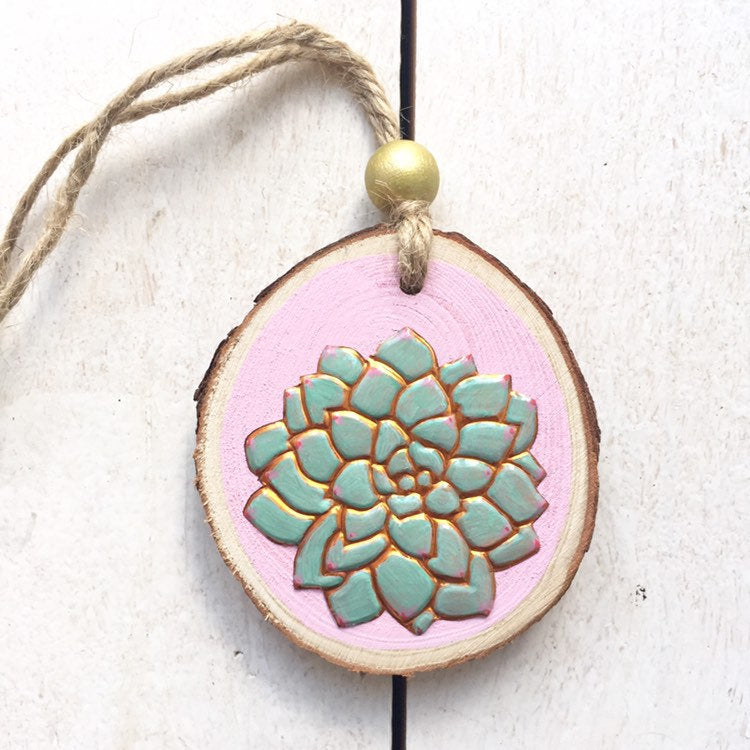 Handmade Copper Succulent Wood Slice with Gold Bead - Cherry Pie Lane