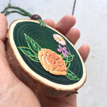 Load image into Gallery viewer, Handmade Copper Rose and Wildflowers Wood Slice - Cherry Pie Lane