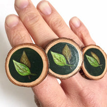 Load image into Gallery viewer, Hand-Painted Green Leaf Wood Slice Statement Ring - Cherry Pie Lane
