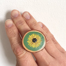 Load image into Gallery viewer, Hand-Painted Sunflower Wood Slice Statement Ring - Cherry Pie Lane