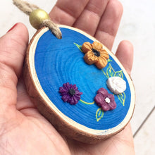 Load image into Gallery viewer, Handmade Blue Wildflower Wood Slice Decor - Cherry Pie Lane