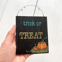 Load image into Gallery viewer, TRICK OR TREAT Hand Painted Wooden Halloween Pumpkin Sign - Cherry Pie Lane