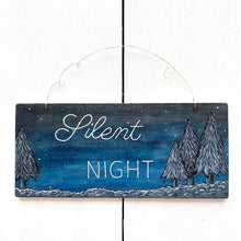 Load image into Gallery viewer, SILENT NIGHT Hand Painted Wooden Winter Christmas Tree Art - Cherry Pie Lane