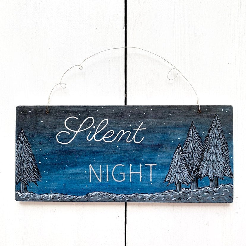 SILENT NIGHT Hand Painted Wooden Winter Christmas Tree Art - Cherry Pie Lane