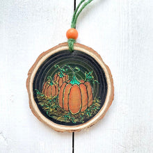 Load image into Gallery viewer, Halloween Triple Pumpkin Hand Painted Autumn Woodslice Decoration - Cherry Pie Lane