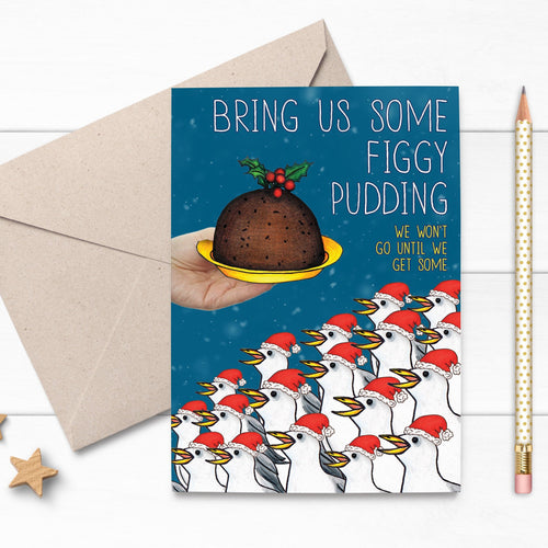 Figgy Pudding Seagull Christmas Card - Cherry Pie Lane