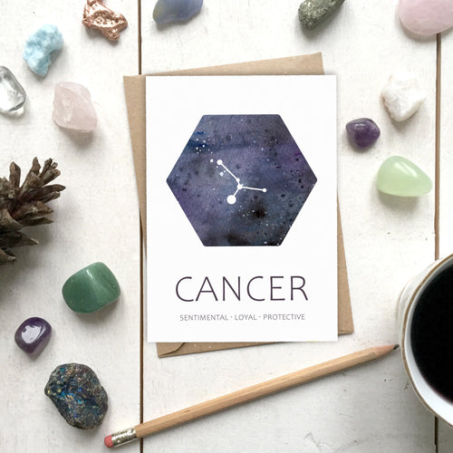 CANCER Star Sign Constellation Galaxy Illustration | Birthday | New Baby Card - Cherry Pie Lane