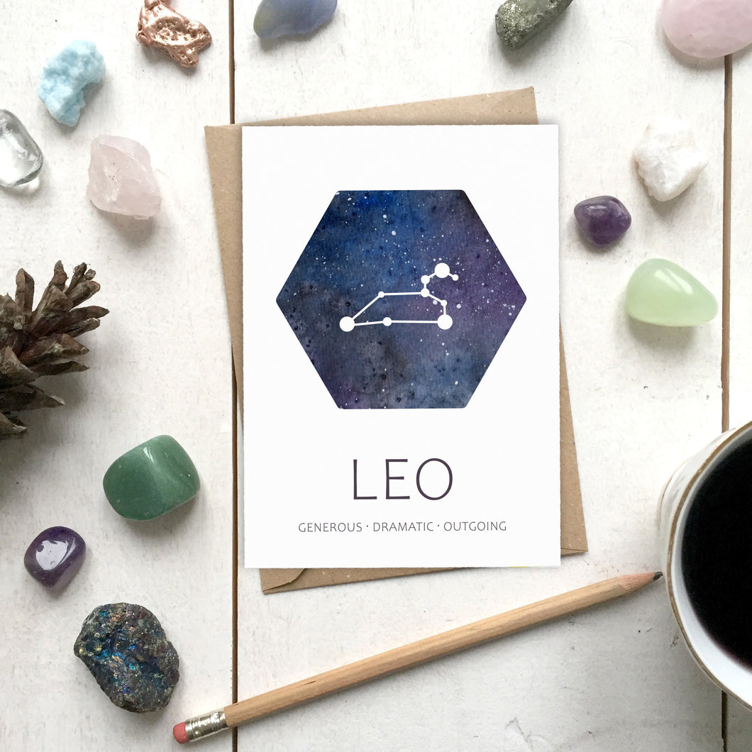 LEO Star Sign Constellation Galaxy Illustration | Birthday | New Baby Card - Cherry Pie Lane