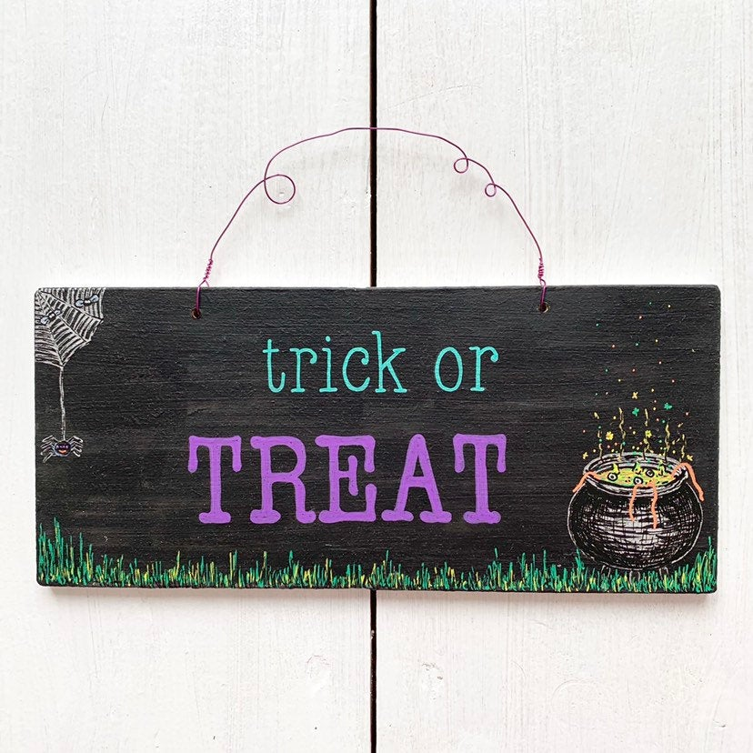 TRICK OR TREAT Hand Painted Wooden Halloween Cauldron Sign - Cherry Pie Lane