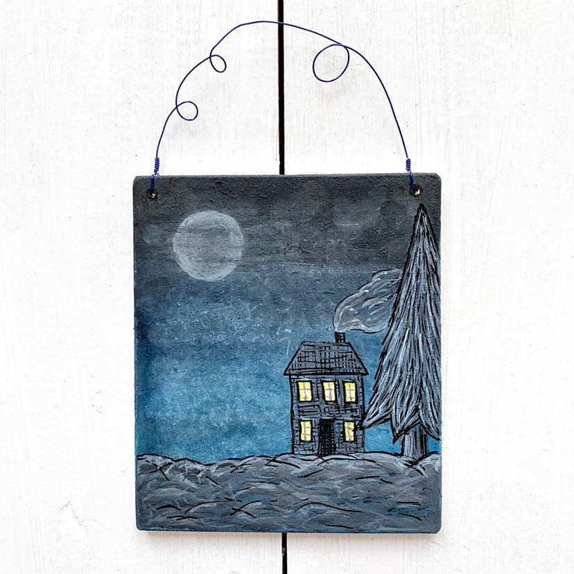 Hand Painted Wooden Winter Christmas Art - Cherry Pie Lane