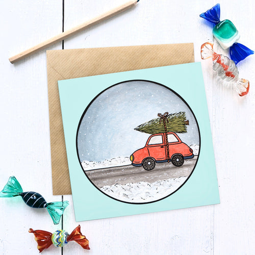 Driving home for Christmas Illustrated Christmas Card - Cherry Pie Lane