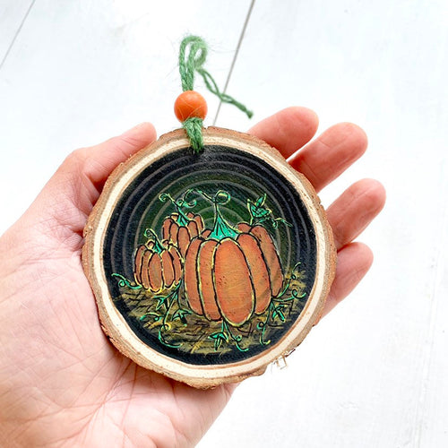 Halloween Triple Pumpkin Hand Painted Autumn Woodslice Decoration - Cherry Pie Lane
