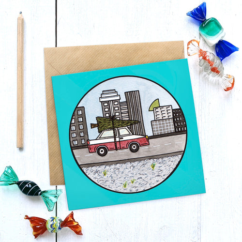 Christmas in the City Illustrated Christmas Card - Cherry Pie Lane