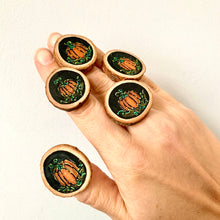 Load image into Gallery viewer, Hand-Painted Halloween Pumpkin Wood Slice Statement Ring - Cherry Pie Lane