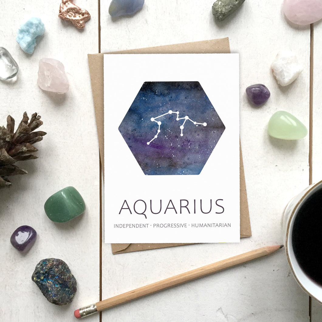 AQUARIUS Star Sign Constellation Galaxy Illustration | Birthday | New Baby Card - Cherry Pie Lane