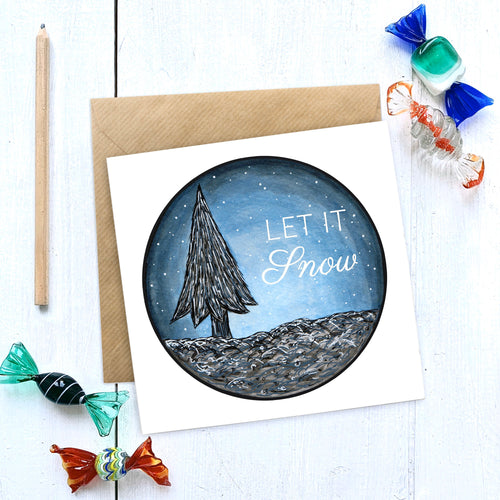 LET IT SNOW Illustrated Christmas Card - Cherry Pie Lane