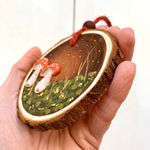 Load image into Gallery viewer, Hand-painted Woodland Toadstool Wood Slice Decoration - Cherry Pie Lane