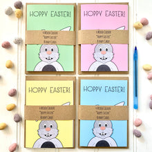 Load image into Gallery viewer, Set of Four Coloured HOPPY EASTER Bunny Cards - Cherry Pie Lane