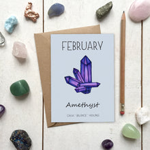 Load image into Gallery viewer, February Birthstone Amethyst Illustration | Birthday | New Baby Card - Cherry Pie Lane