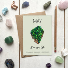 Load image into Gallery viewer, May Birthstone Emerald Illustration | Birthday | New Baby Card - Cherry Pie Lane