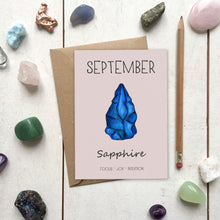 Load image into Gallery viewer, September Birthstone Sapphire Illustration | Birthday | New Baby Card - Cherry Pie Lane