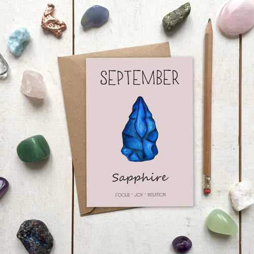 September Birthstone Sapphire Illustration | Birthday | New Baby Card - Cherry Pie Lane