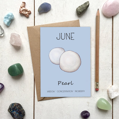 June Birthstone Pearl Illustration | Birthday | New Baby Card - Cherry Pie Lane