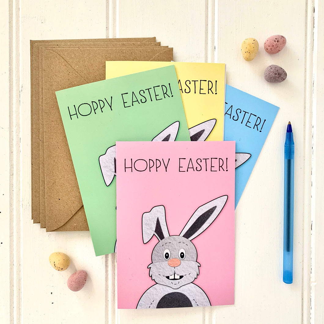 Set of Four Coloured HOPPY EASTER Bunny Cards - Cherry Pie Lane
