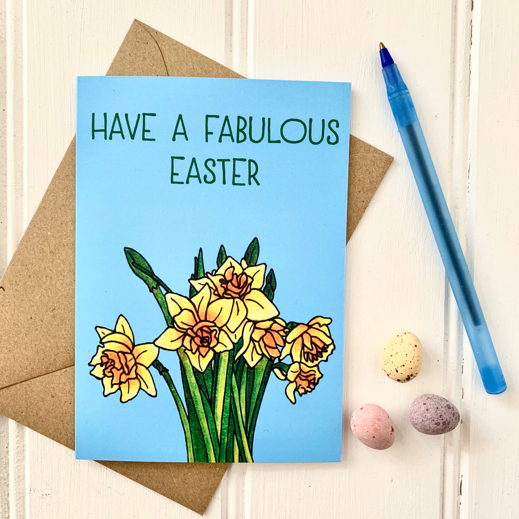 Bright Easter Daffodils Illustration Card - Cherry Pie Lane