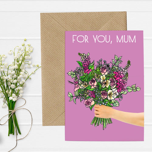 Floral Bouquet Illustration Mothers Day Card - Cherry Pie Lane