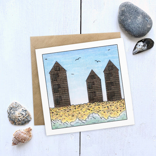 Hastings Net Huts Beach Illustration Card - Cherry Pie Lane