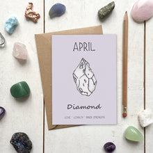 Load image into Gallery viewer, April Birthstone Diamond Illustration | Birthday | New Baby Card - Cherry Pie Lane